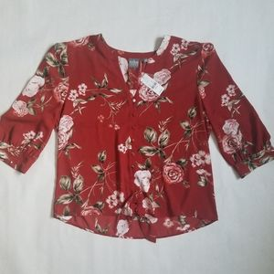 NWT New York and Co red floral button up blouse